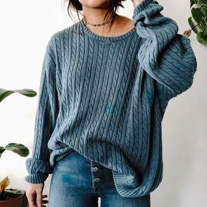 04816d61db58e9 VINTAGE • oversized chunky boho baby blue sweater